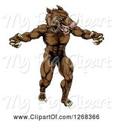 Swine Clipart of Muscular Aggressive Clawed Boar Guy Mascot Attacking by AtStockIllustration