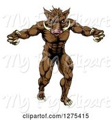 Swine Clipart of Muscular Angry Brown Boar Guy with Claws by AtStockIllustration