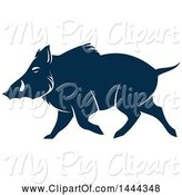 Swine Clipart of Navy Blue Razorback Boar with a White Outline by Vector Tradition SM