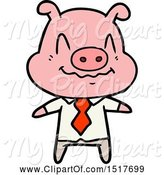 Swine Clipart of Nervous Pig Boss by Lineartestpilot