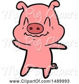 Swine Clipart of Nervous Pig by Lineartestpilot