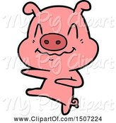 Swine Clipart of Nervous Pig Dancing by Lineartestpilot
