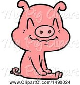 Swine Clipart of Nervous Pig Sitting by Lineartestpilot