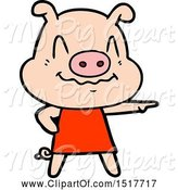 Swine Clipart of Nervous Pig Wearing Dress by Lineartestpilot