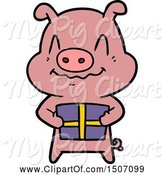 Swine Clipart of Nervous Pig with Present by Lineartestpilot
