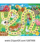 Swine Clipart of Numbered Board Game with a Farmer and Animals by Visekart