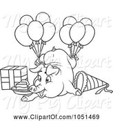 Swine Clipart of Outline of a Birthday Pig by Dero