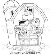 Swine Clipart of Outlined Barnyard Animals in a Barn by Visekart
