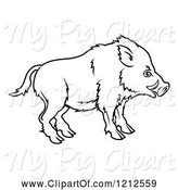 Swine Clipart of Outlined Chinese Zodiac Boar in Profile by AtStockIllustration