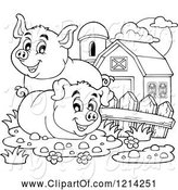 Swine Clipart of Outlined Happy Pigs in a Barnyard by Visekart