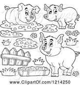 Swine Clipart of Outlined Happy Pigs with Mud a Fence and Slop by Visekart