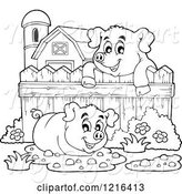 Swine Clipart of Outlined Happy Pigs with Mud Puddles in a Barnyard by Visekart