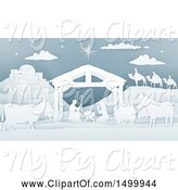 Swine Clipart of Paper Art Styled Nativity Scene by AtStockIllustration
