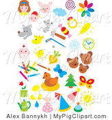 Swine Clipart of People, Animals, Weather, Sports, and Art on White by Alex Bannykh