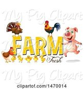 Swine Clipart of Pig and Chickens with Farm Fresh Text by Graphics RF