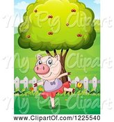 Swine Clipart of Pig Ballerina Dancing by a Tree by Graphics RF