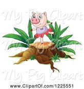 Swine Clipart of Pig Ballerina Dancing on a Tree Stump by Graphics RF
