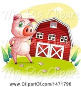 Swine Clipart of Pig by a Red Barn by Graphics RF