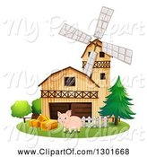 Swine Clipart of Pig by Hay, a Barn and Windmill by Graphics RF