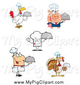 Swine Clipart of Pig, Chef Hat, Man and Turkey Cooks by Hit Toon