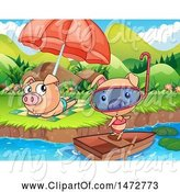 Swine Clipart of Pig Couple at a Beach by Graphics RF