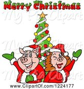 Swine Clipart of Pig Couple by a Christmas Tree with Merry Christmas Text by LaffToon