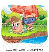 Swine Clipart of Pig Couple on a Beach by Graphics RF