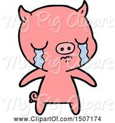 Swine Clipart of Pig Crying by Lineartestpilot