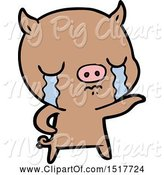 Swine Clipart of Pig Crying Pointing by Lineartestpilot