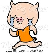 Swine Clipart of Pig Crying Running Away by Lineartestpilot