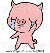 Swine Clipart of Pig Crying Waving Goodbye by Lineartestpilot