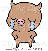 Swine Clipart of Pig Crying with Hands on Hips by Lineartestpilot