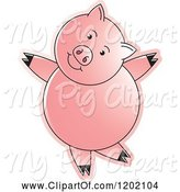 Swine Clipart of Pig Dancing by Lal Perera