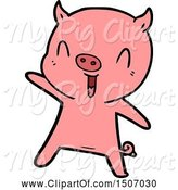 Swine Clipart of Pig Dancing by Lineartestpilot