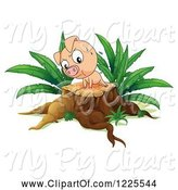 Swine Clipart of Pig Doing Push Ups on a Tree Stump by Graphics RF