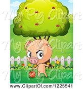 Swine Clipart of Pig Dribbling a Basketball by a Tree by Graphics RF