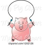 Swine Clipart of Pig Exercising with a Jump Rope by Lal Perera
