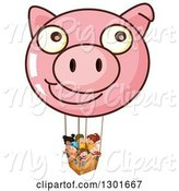 Swine Clipart of Pig Face Hot Air Balloon with Children by Graphics RF