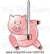 Swine Clipart of Pig Fighting with a Sword by Lal Perera