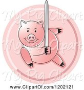 Swine Clipart of Pig Fighting with a Sword Icon by Lal Perera