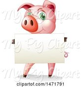 Swine Clipart of Pig Holding a Blank Sign by Graphics RF