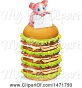 Swine Clipart of Pig Holding a Sign on a Giant Cheeseburger by Graphics RF