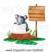 Swine Clipart of Pig Holding a Sign on a Tree Stump by Graphics RF