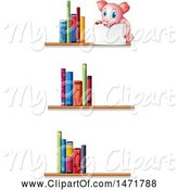 Swine Clipart of Pig Holding a Sign on Book Shelves by Graphics RF