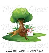 Swine Clipart of Pig Holding a Sign Under a Tree by Graphics RF