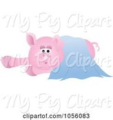 Swine Clipart of Pig in a Blue Blanket by Pams Clipart