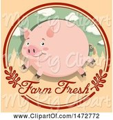 Swine Clipart of Pig in a Farm Fresh Circle by Graphics RF