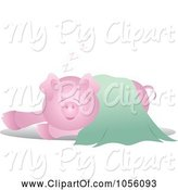 Swine Clipart of Pig in a Green Blanket by Pams Clipart