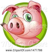 Swine Clipart of Pig in a Green Circle by Graphics RF