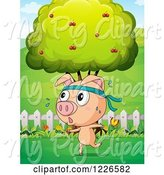 Swine Clipart of Pig Jogging in a Pasture by Graphics RF